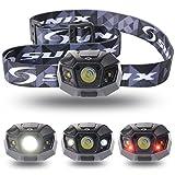 [Sunix]  ハイパワー LEDヘッドライト 2000mAhのリチウム充電電池 長いバッテリ寿命 [明るさ120ルーメン 実用点灯10時][完全防水][調光モード 夜間モード ストロボモード] 夜の作業 夜釣り キャンプなどのアウトドア活動に適用 ブラック SU002