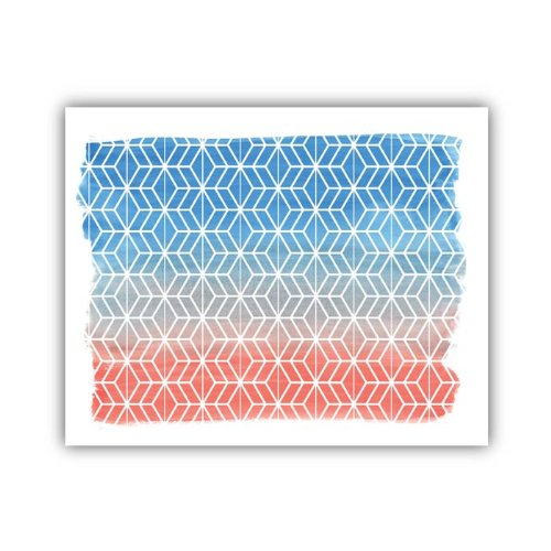 "Lucy Darling Geometric Watercolor Print Wall Decor, Orange/Blue, 5"" x 7"" - 1"