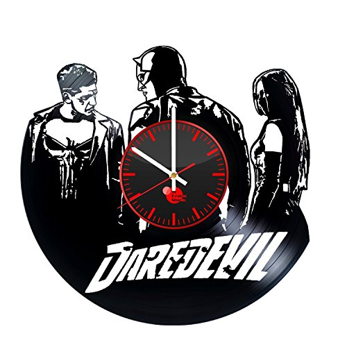 Daredevil-Action-Figure-HANDMADE-Vinyl-Record-Wall-Clock-Get-unique-home-room-wall-decor-Gift-ideas-for-boys-and-girls-Marvel-Comics-Unique-Art-Leave-us-a-feedback-and-win-your-custom-clock