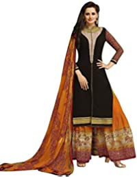 RGN Retails Georgette Embroidered Dress Material For Salwar Suits(5761_Black Colour)