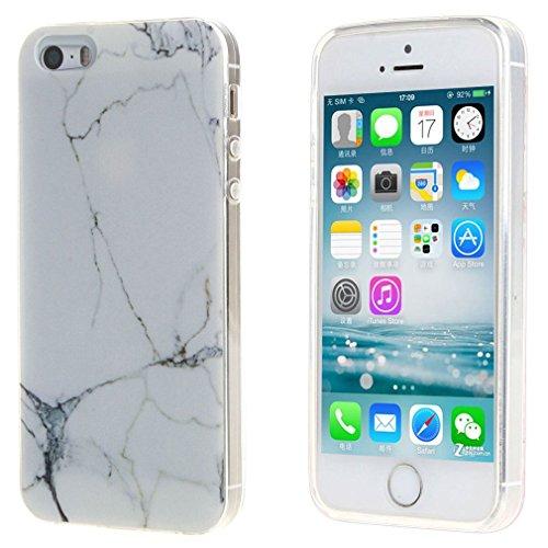 YIGA Blanc Marbre Coque Premium Souple Silicone TPU case Etui Protection Housse pour apple iPhone 5S 5 SE