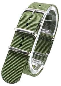 [2PiS] ( シングルカーキ : 20mm ) NATO 腕時計ベルト ナイロン 替えバンド ストラップ 交換マニュアル付 10-1-20
