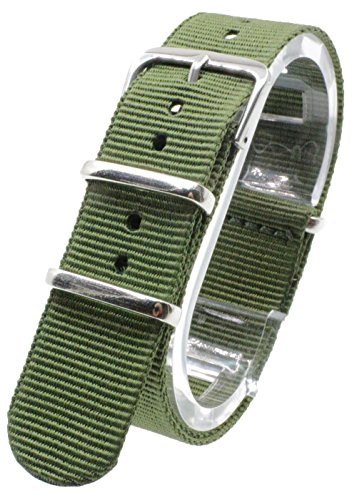 [2 PiS] NATO belt nylon (single khaki: 22 mm) replacement watch band strap replaced with manual 10-1-22