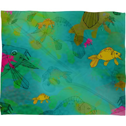 Deny Designs Aimee St Hill Fish Fleece Throw Blanket, 40-Inch By 30-Inch