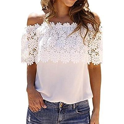 Weixinbuy Women Boho Lace Blouse Off Shoulder Crop Shirt Tops