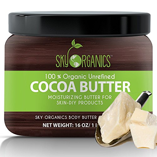Organic Cocoa Butter By Sky Organics: Unrefined, 100% Pure Raw Cocoa Butter 16oz - Skin Nourishing, Moisturizing & Healing, for Dry Skin, Stretch Marks - For Skin Care, Hair Care & DIY Recipes