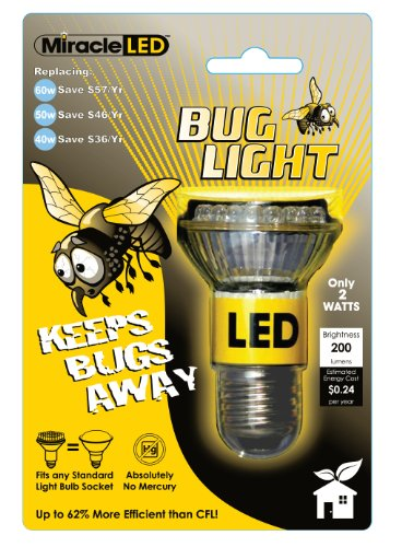 Miracle LED 605023 Bug Lite Bulb, Yellow
