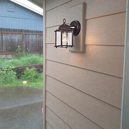 Truelite Vintage Style Outdoor Wall Sconce 1 Light Industrial Clear Glass Panels Wall Lanterns 3