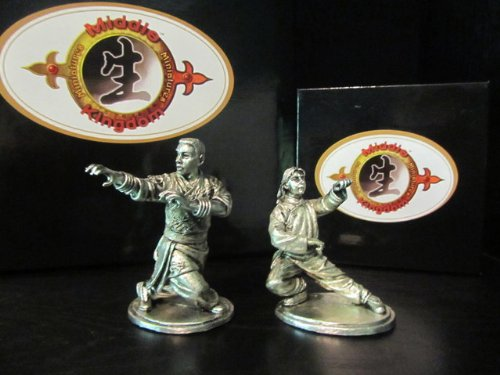 Hung Gar Kung Fu 2-Pack Leopard/Dragon Figurine (Antique Finished Pewter)