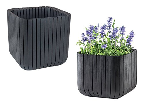 keter-indoor-outdoor-wood-style-effect-garden-planters-2-set-cube-pots-anthracite