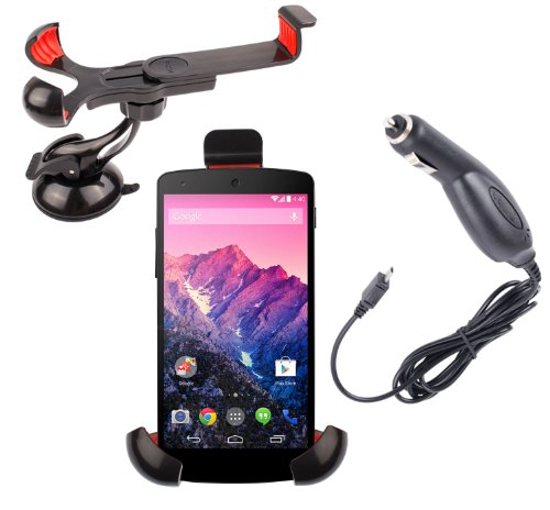 Duragadget In-Car Rotating Smartphone Holder with Suction Cup Mount Plus a Micro USB Car Charger For LG Google Nexus 5