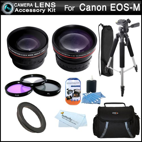 Lens Bundle Kit For New Canon Eos M, Eos-M Digital Camera (That Use Ef-M 22Mm F/2 Stm And Ef-M 18-55Mm Stm Lens) Includes 43Mm-52Mm Ring Adapter + Wide Angle Lens W/ Macro Lens + 2X Telephoto Lens + 3Pc Filter Kit (Uv-Cpl-Fld) + Deluxe Case + 57 Tripod +