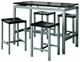 Coaster 5-Piece Metal Dining Set with 4 Barstools, Silver/Black thumbnail