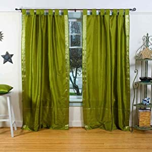 olive green tab top sheer sari curtain drape panel