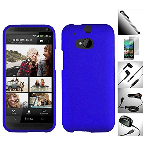 6 In 1 Superb Extra Value Pack For Htc One M8 (2014 Edition) - 1 Incredible Stylish Design Snap-On Hard Case + 1 Screen Protector + 1 Car Charger + 1 Travel / Home Wall Charger + 1 Random Color Handsfree Headset 3.5Mm Stereo Earphone + 1 Free Garnet House