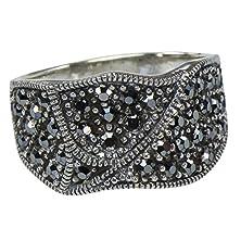 buy Vintage Art Nouveau Cz Wrinkled Poem 925 Sterling Silver Deco Ring