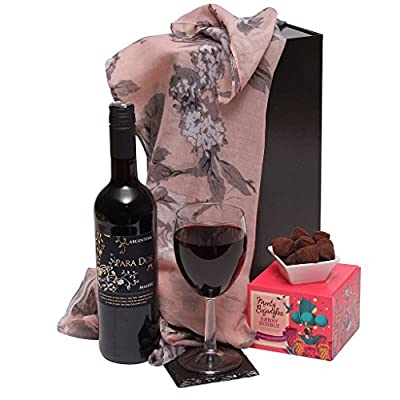 Red Wine & Chocolate Truffle Christmas Gift Hamper & Quality Scarf For Ladies