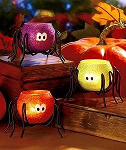 Halloween Spider Tea Light Candle holders, Set of 3