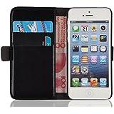 JAMMYLIZARD | Luxuriös Wallet Ledertasche Hülle für iPhone 5 und 5S, SCHWARZ