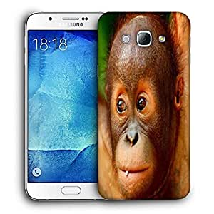 Snoogg Baby Chimpanese Printed Protective Phone Back Case Cover For Samsung Galaxy A8