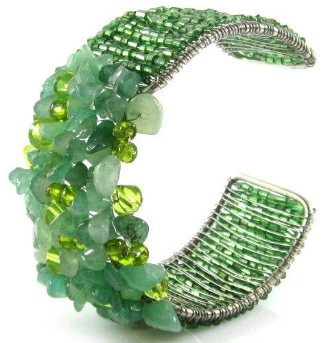MGD, Green Aventurine Cluster Wrap Bracelet, Adjustable Cuff Bangle, Fashion Jewelry for Women, Teens and Girls , JB-0042
