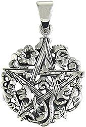 Sterling Silver Cimaruta Pentacle Pentagram Pendant Wicca Jewelry