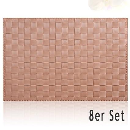 Tischset Platzset MODERN Platzmatten 8er Set beige geflochten Kunststoff 45x30 cm