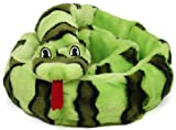 Kyjen 2436 Invincibles Plush Snake Stuffingless Durable 12-Squeaker Dog Toys, Extra Large, Green