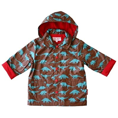 Toby Tiger Boys Cotton-Lined Raincoat Brown & Blue Dinosaurs