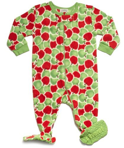 "Leveret Footed Fleece ""Apple"" Pajama (4 Toddler)"