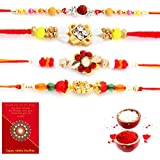 Traditional Villa Handcrafted 4 Pc Fancy Rakhi N Greeting Card Gift Rakhi For Brother With Gift Combo And Rakhi For Bhaiya Bhabhi Combo Free Shipping+Roli+Chawal+Greeting Card !!-4Rgs299
