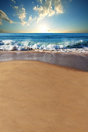 amonamour-dawn-sun-seaside-waves-tide-beach-sand-vacation-scenery-blue-cloudy-sky-5x7ft-studio-photo
