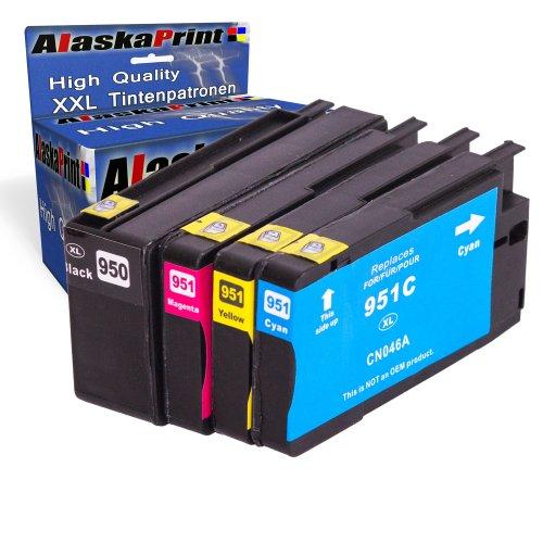 Alaskaprint WOW-Angebot 4x Druckerpatronen Ersatz für Hp 950 XL + 951 XL Tinte , 1x hp 950 black, je 2.300 Seiten + 1x Hp 951 Cyan, 1.500 Seiten + 1x Hp 951 Magenta, 1.500 Seiten + 1x Hp 951 Gelb,, 1.500 Seiten Ersatz für Hp CN046AE-49AE Original Fineserie 4x950 951Set-hp