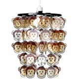 Children's Bedroom/Nursery Cheeky Monkey Faces Ceiling Pendant Light Shade