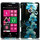 HJ POWER[TM] Nokia Lumia 521 Windows Phone 8 Hard Snap-on Case CoverEGPI-Blue Flowers