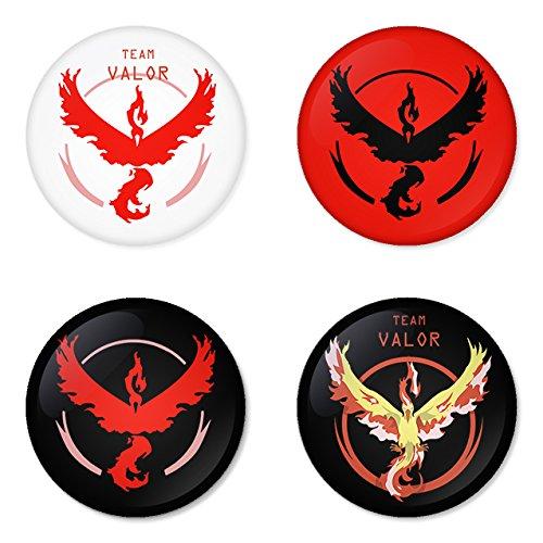 Pokemon Go Red team Valor badges buttons 1.75
