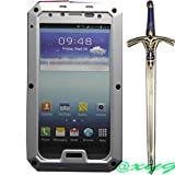 Newest Premium Extreme Luxury Shockproof Dust/Dirt Proof Aluminum Metal Gorilla Glass Military Heavy Duty Protection Hard Cover Skin Case for Samsung Galaxy S4 SIV I9500 @XYG (Silver) (bhey7)