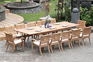 """Grade-A Teak Wood Luxurious Dining Set Collections: 13 Pc -Large 117"""" Rectangle Table and 12 Arbor Stacking Arm Chairs"""