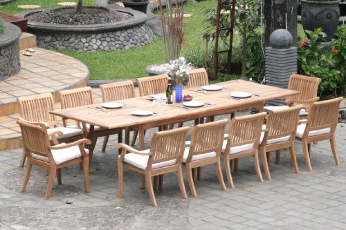 Grade-A Teak Wood Luxurious Dining Set Collections: 13 Pc -Large 117