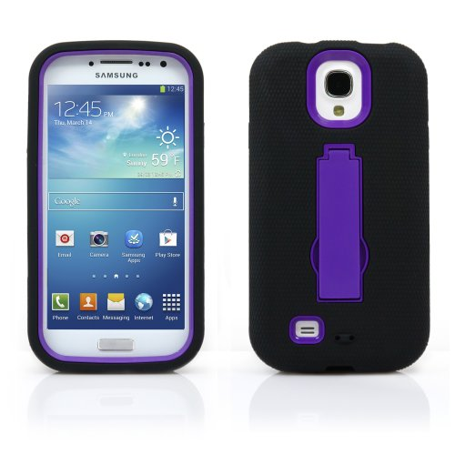 Galaxy S4 Case, Magicmobile® Hybrid Shockproof Impact Resistant Rugged Armor Defender With Kickstand / Black - Purple