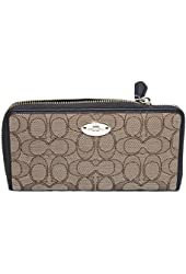 Coach Outline Signature Accordion Zip-around Wallet (Khaki/brown)