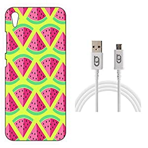 Designer Hard Back Case for Vivo Y51L with 1.5m Micro USB Cable