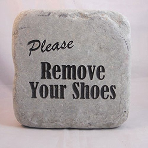 """Please Remove Your Shoes"" Engraved Cobblestone Rock"