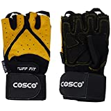 Cosco Tuff Fit Leather Gym Gloves, Medium (Black/Yellow)