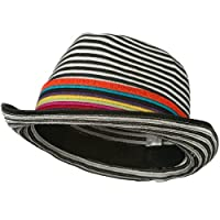 Women's Striped Design Fedora Hat with Multi-Color Band - Black White W19S63D