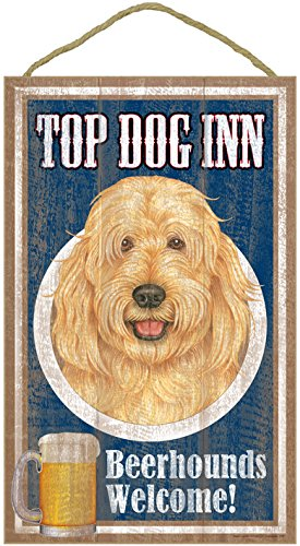 sjt27991-goldendoodle-top-dog-inn-10-x-16-wood-plaque-sign