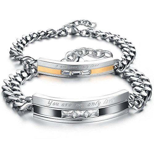 KONOV Schmuck 2pcs Herren Damen Armband, Lieben Freundschaftsarmband Valentinstag Geschenke, Zirkonia Diamant Edelstahl, Gold Schwarz Silber