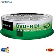 DVD R 8.5 GB Dual Layer Recordable Discs Spindle Pack Of 25 And Free 6 Feet Netcna HDMI Cable - By NETCNA