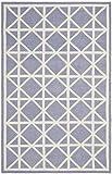 Safavieh Dhurries Collection DHU558B Handmade Purple and Ivory Wool Area Rug, 3 feet by 5 feet (3' x 5')