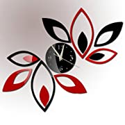 Toprate(TM) Silver Creative Red and Black Rhombus Leaves Leaf Diamonds Wall Clock Mirror Wall Clock Fashion Modern Design Removable DIY Acrylic 3D Mirror Wall Decal Wall Sticker Decoration